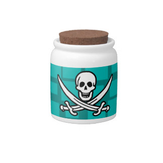 Turquoise Squares Jolly Roger Candy Dishes