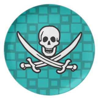 Turquoise Squares Jolly Roger Party Plate