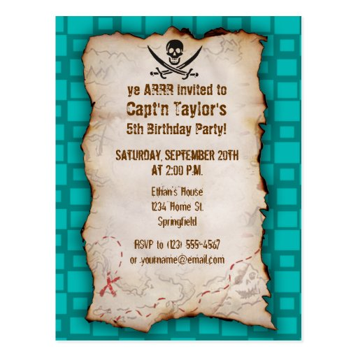Turquoise Squares Jolly Roger Postcard