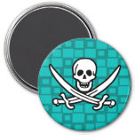 Turquoise Squares Jolly Roger Refrigerator Magnet