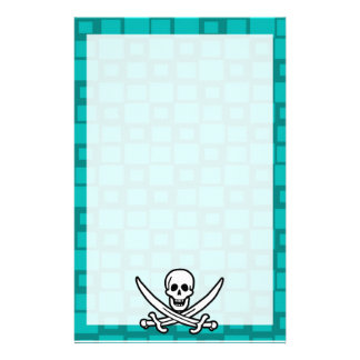 Turquoise Squares Jolly Roger Customized Stationery