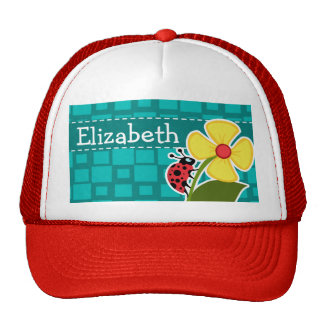 Turquoise Squares; Ladybug Trucker Hat