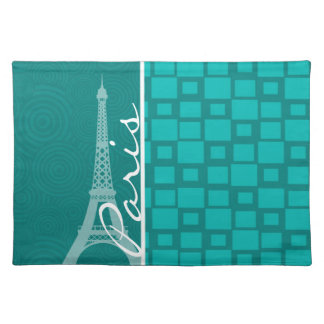 Turquoise Squares Paris Placemat