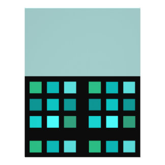 Turquoise Squares Pattern On Black Flyer