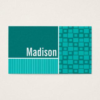 Turquoise Squares; Retro Square Business Card