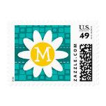 Turquoise Squares; Retro Square; Daisy Postage Stamps