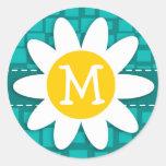 Turquoise Squares; Retro Square; Daisy Round Stickers