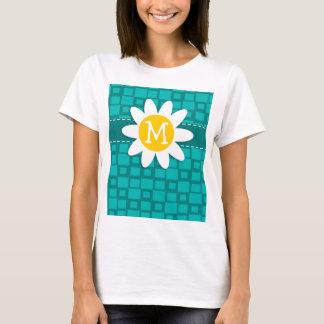 Turquoise Squares; Retro Square; Daisy T-Shirt