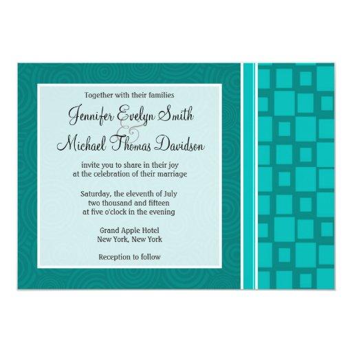 Turquoise Squares; Retro Square 5x7 Paper Invitation Card
