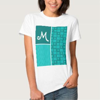 Turquoise Squares; Retro Square T-Shirt