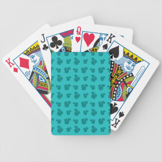 Turquoise squirrel pattern bicycle playing cards