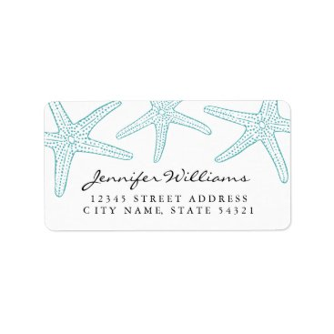Beach Themed Turquoise Starfish Address Label