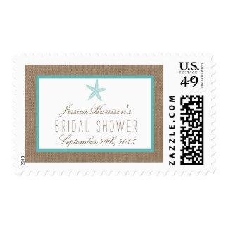 Turquoise Starfish Beach Bridal Shower Postage