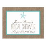 Turquoise Starfish Beach Bridal Shower Recipe Card