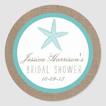Beach Themed Turquoise Starfish Beach Bridal Shower Stickers