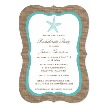 Invitation_Republic Turquoise Starfish Beach Burlap Bachelorette Party Card