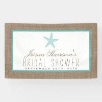 Turquoise Starfish Beach Burlap Bridal Shower Banner