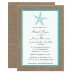 Turquoise Starfish Beach Burlap Bridal Shower Card at Zazzle