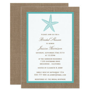 Beach bridal shower invitations announcements zazzle turquoise starfish beach burlap bridal shower card filmwisefo Image collections