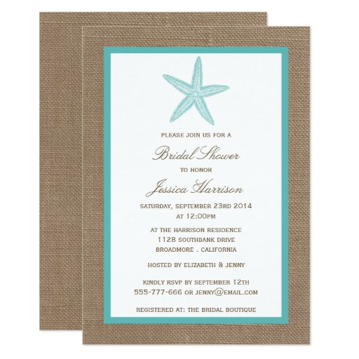 Turquoise Starfish Beach Burlap Bridal Shower Invitation