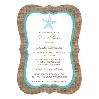 Turquoise Starfish Beach Burlap Bridal Shower 5x7 Paper Invitation Card