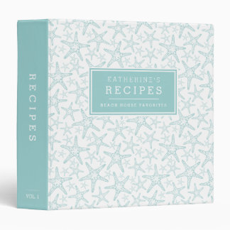 Turquoise Starfish Beach House Recipe Binder