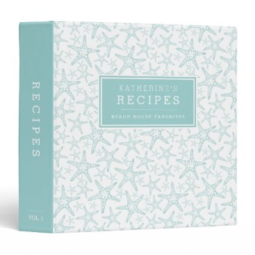 RedwoodAndVine Turquoise Starfish Beach House Recipe Binder