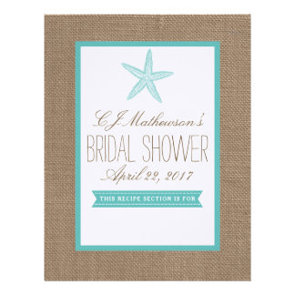 Turquoise Starfish Bridal Shower Recipe Divider Letterhead
