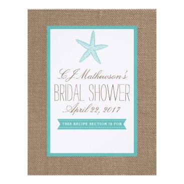 Beach Themed Turquoise Starfish Bridal Shower Recipe Divider Letterhead