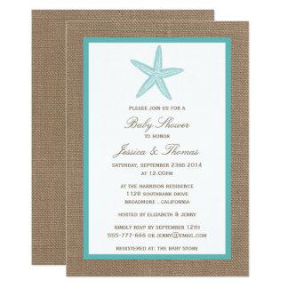 turquoise starfish burlap beach baby shower card