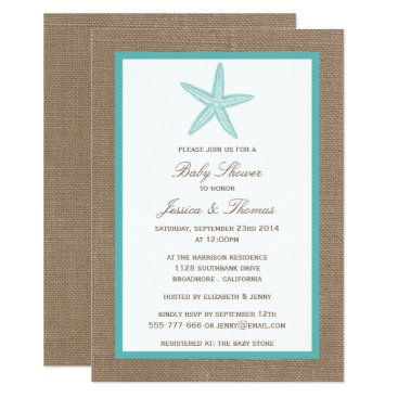 Beach Themed Turquoise Starfish Burlap Beach Baby Shower Card