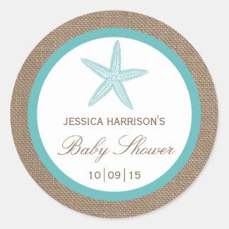 Turquoise Starfish Burlap Beach Baby Shower Classic Round Sticker