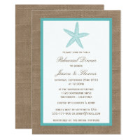 Turquoise Starfish Burlap Beach Rehearsal Dinner Card