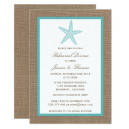 Turquoise Starfish Burlap Beach Rehearsal Dinner Card