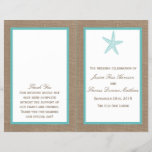 """Turquoise Starfish Burlap Beach Wedding Collection<br><div class=""""desc"""">The turquoise starfish on burlap beach wedding collection is perfect for any couple planning a romantic marriage by the sea. The rustic burlap effect background gives these programs a boho-chic feel, while the tropical turquoise has a fresh and cool color scheme that can be used throughout your wedding. The cute...</div>"""