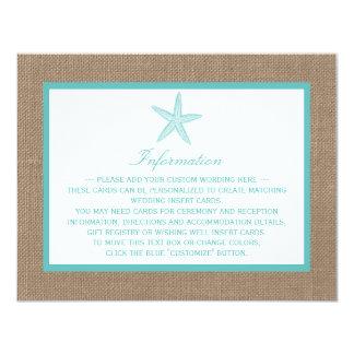 Turquoise Starfish Burlap Beach Wedding Collection 4.25x5.5 Paper Invitation Card