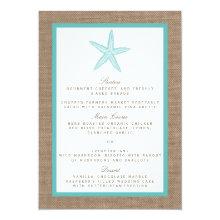 Turquoise Starfish Burlap Beach Wedding Collection 4.5x6.25 Paper Invitation Card