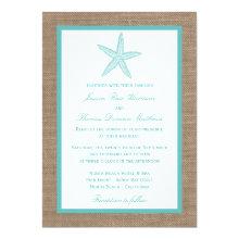 Turquoise Starfish Burlap Beach Wedding Collection 5x7 Paper Invitation Card