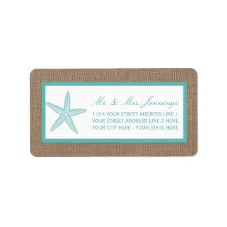 Turquoise Starfish Burlap Beach Wedding Collection Address Label