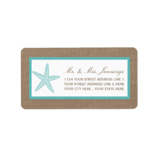 Turquoise Starfish Burlap Beach Wedding Collection Address Label