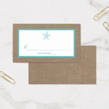 Beach Themed Turquoise Starfish Burlap Beach Wedding Collection Business Card