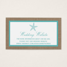 Turquoise Starfish Burlap Beach Wedding Collection Business Card at Zazzle