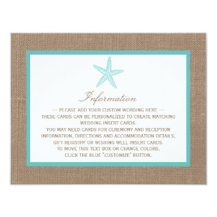 Turquoise Starfish Burlap Beach Wedding Collection Card at Zazzle