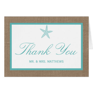 Turquoise Starfish Burlap Beach Wedding Collection Card