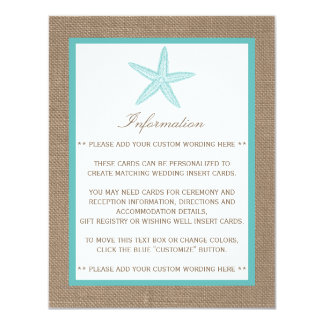 Turquoise Starfish Burlap Beach Wedding Collection Card
