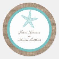 Turquoise Starfish Burlap Beach Wedding Collection Classic Round Sticker
