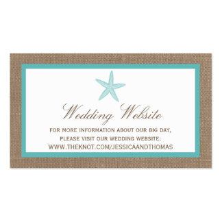 Turquoise Starfish Burlap Beach Wedding Collection Double-Sided Standard Business Cards (Pack Of 100)