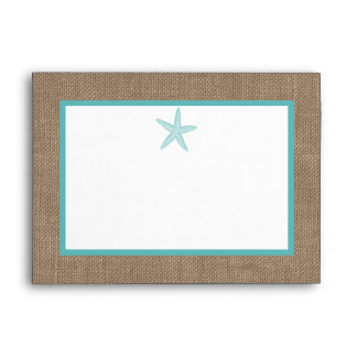 Turquoise Starfish Burlap Beach Wedding Collection Envelope