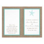 "Turquoise Starfish Burlap Beach Wedding Collection 8.5"" X 11"" Flyer"