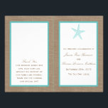 """Turquoise Starfish Burlap Beach Wedding Collection Flyer<br><div class=""""desc"""">The turquoise starfish on burlap beach wedding collection is perfect for any couple planning a romantic marriage by the sea. The rustic burlap effect background gives these programs a boho-chic feel, while the tropical turquoise has a fresh and cool color scheme that can be used throughout your wedding. The cute...</div>"""
